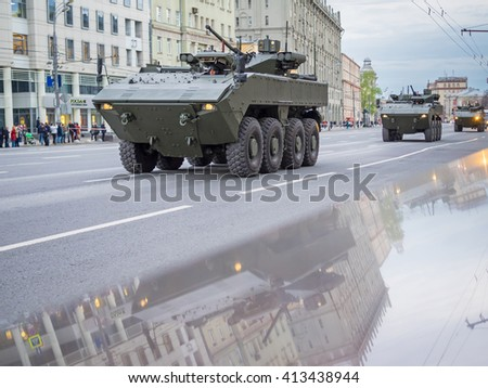 MOSCOW, RUSSIA - APRIL 28, 2016: rehearsal of parade in honor of Victory Day in Moscow. Military machines on the street