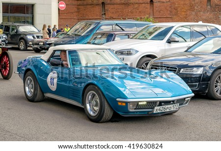 Moscow, Russia - April 24, 2016: Retro cars rally named after Ingosstrakh Exclusive Classic Day. Chevrolet Corvette C3 Stingray. - stock photo
