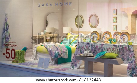 Moscow, Russia - April 02, 2017: Shop window of a Zara home store.
