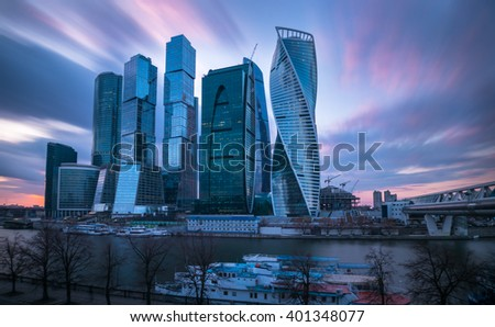 MOSCOW. RUSSIA - APRIL, 2016: Skyscrapers of Moscow city business center . Moscow International Business Center also referred to as Moscow-City is commercial district in central Moscow, Russia.