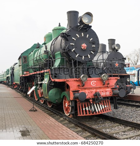 MOSCOW, RUSSIA - APRIL 07, 2017: Soviet vintage locomotive in steampunk style at the exhibition of railway transport in Moscow