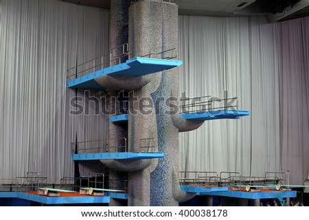 MOSCOW, RUSSIA - April 1, 2016: Springboard for jumps in water in the Olympic sport complex - stock photo