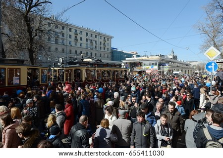 MOSCOW, RUSSIA - APRIL 11, 2015: The parade of old trams on Chistoprudny Boulevard of Moscow.