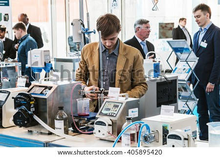 MOSCOW, RUSSIA - April 12, 2016: The 14th International Exhibition of laboratory equipment and chemical reagents in Moscow. Medical and laboratory equipment at the exhibition. - stock photo