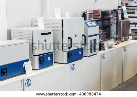 MOSCOW, RUSSIA - April 12, 2016: The 14th International Exhibition of laboratory equipment and chemical reagents in Moscow. Medical equipment at the exhibition - stock photo