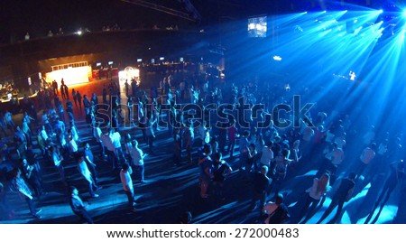 MOSCOW, RUSSIA - APRIL 5, 2014: Trance festival TRANSMISSION in a nightclub Stadium Live, aerial view. This festival is held for more than 10 years