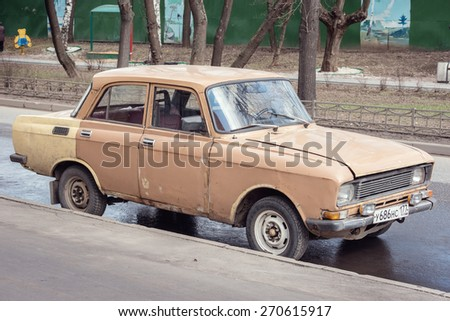 "MOSCOW, RUSSIA - APRIL 18, 2015: Vintage soviet automobile ""Moskvich"" on the street r of Moscow, Russia, April 18, 2015."
