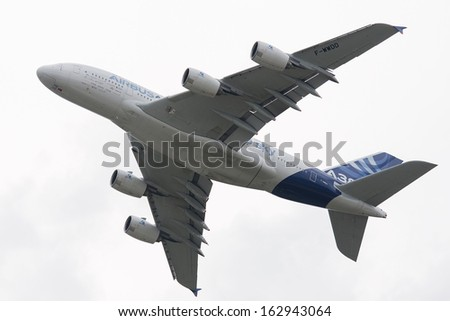 MOSCOW, RUSSIA - AUG 29: The Airbus A380 performs a flight on August 29, 2013 in Moscow, Russia. The Airbus A380 is the world's largest commercial passenger airliner. - stock photo