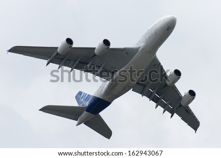 MOSCOW, RUSSIA - AUG 29: The Airbus A380 performs a flight on August 29, 2013 in Moscow, Russia. The Airbus A380 is the world's largest commercial passenger airliner.