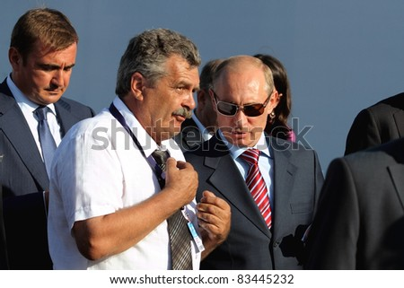 MOSCOW, RUSSIA - AUG 17: Vladimir Putin, Russian Prime Minister at the International Aviation and Space salon MAKS on Aug 17, 2011 at Zhukovsky, Russia - stock photo