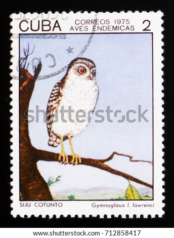 MOSCOW, RUSSIA - AUGUST 29, 2017: A stamp printed in Cuba shows Bare-legged Owl (Gymnoglaux lawrenci), Indigenous Birds serie, circa 1975