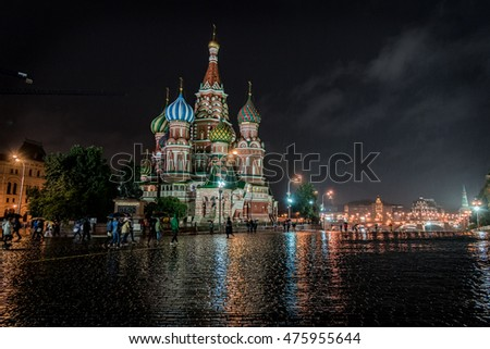 MOSCOW, RUSSIA - AUGUST 16, 2016 -   Basil's Cathedral on red square in Moscow Basil's Cathedral one of the most beautiful and ancient churches in Moscow