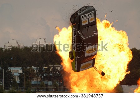 MOSCOW, RUSSIA - AUGUST 13, 2005: Flying burning car on the show stunt MASTER-2005