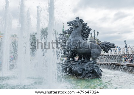 MOSCOW, RUSSIA - AUGUST 14, 2016 - fountain with horses in the garden of the Kremlin capital of russia Moscow