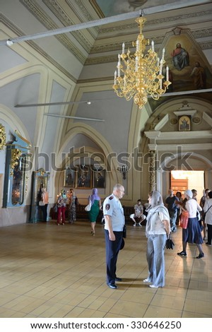 MOSCOW, RUSSIA - AUGUST 14, 2013:Interior of the assumption Church . Novodevichy Bogoroditse-Smolensky monastery - Orthodox convent in Moscow on Devichie field. - stock photo