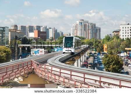 Moscow, Russia - August 19, 2011: Korolev street, the Moscow monorail train in the area of Ostankino TV center