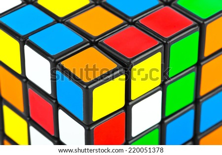 MOSCOW, RUSSIA - August 31, 2014: Macro of Rubik's cube puzzle. Cube was invented by a Hungarian architect Erno Rubik in 1974. - stock photo
