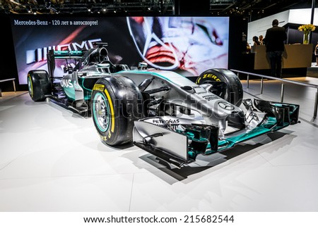MOSCOW, RUSSIA - August 26:MERCEDES AMG PETRONAS Formula One Team at MIAS 2014 in Moscow, 26 August 2014 - stock photo
