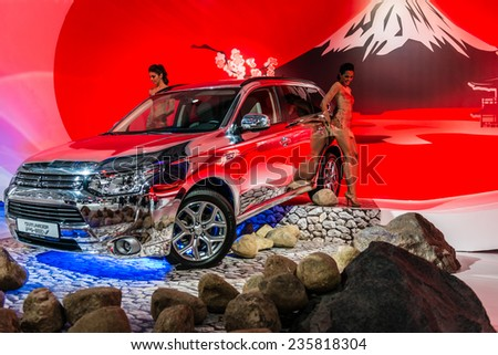 MOSCOW, RUSSIA - August 26: Mitsubishi cars at MIAS 2014 in Moscow, 26 August 2014
