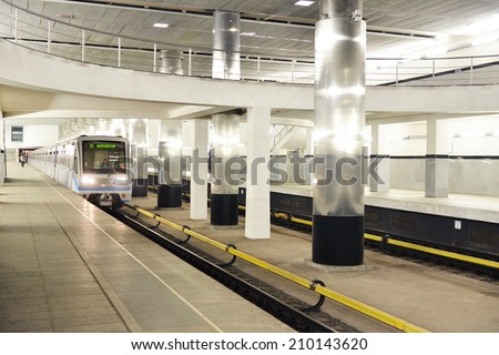 MOSCOW, RUSSIA - AUGUST 7,20014:Myakinino is a Moscow Metro station in Krasnogorsk,Moscow Oblast.Myakinino opened on 26 December 2009, located near Moscow Oblast Administrative HQ and Crocus City Mall