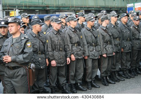 Moscow, Russia - August 31, 2009. Russian police during protests Strategy-31. A rally in defense of the 31st article of the Constitution, protection of freedom of protest and Assembly. - stock photo