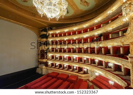 MOSCOW,RUSSIA-August 09: The Bolshoi Theatre a historic theatre of ballet and opera in Moscow, Russia,the interior auditorium by architect Alberto Cavos in 1895. on August 09,2013 in Moscow,Russia