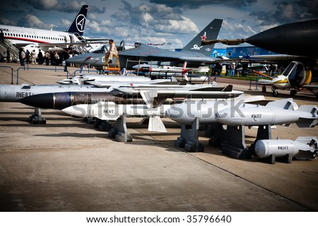 MOSCOW, RUSSIA, AUGUST,19: Torpedo, Bombs and Fighter at the International Aviation and Space salon MAKS,  August,19, 2009 at Zhukovsky, Russia