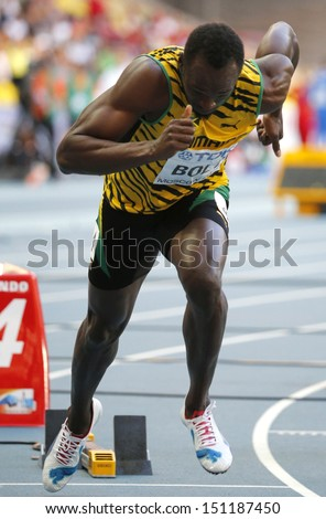 MOSCOW, RUSSIA - AUGUST 17: Usain Bolt runs at the World Athletics Championships on August 17, 2013 in Moscow - stock photo