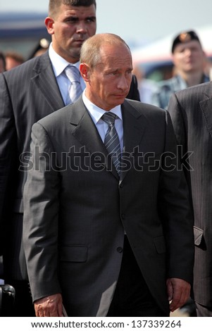 MOSCOW, RUSSIA - AUGUST 18: Vladimir Putin, President of Russia at the International Aviation and Space Salon MAKS-August 18, 2009 in Zhukovsky, Russia - stock photo