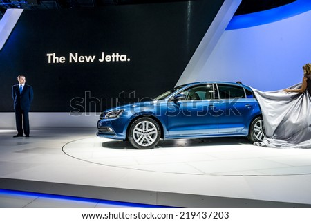 MOSCOW, RUSSIA - August 26: Volkswagen Cars at MIAS 2014 in Moscow, 26 August 2014