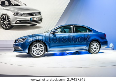 MOSCOW, RUSSIA - August 26: Volkswagen Cars at MIAS 2014 in Moscow, 26 August 2014 - stock photo