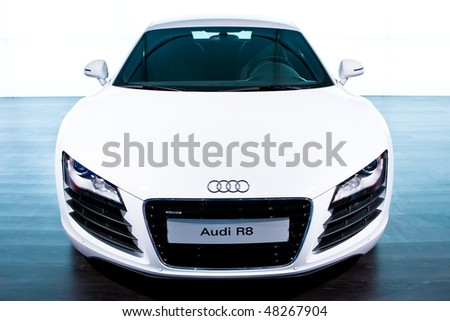 MOSCOW, RUSSIA - AUGUST 27: White sport car Audi R8 at Moscow International exhibition InterAuto on August 27, 2008 in Moscow, Russia.