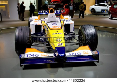 MOSCOW, RUSSIA - AUGUST 27: Yellow sportcar Renault Formula 1 at Moscow International exhibition InterAuto on August 27, 2008 in Moscow, Russia. - stock photo