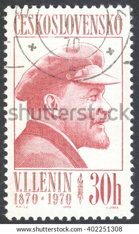 """MOSCOW, RUSSIA - CIRCA APRIL, 2016: a post stamp printed in CZECHOSLOVAKIA shows a portrait of Lenin, the series """"The 100th Anniversary of the Birth of Lenin"""", circa 1970 - stock photo"""