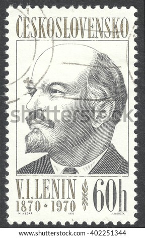 "MOSCOW, RUSSIA - CIRCA APRIL, 2016: a post stamp printed in CZECHOSLOVAKIA shows a portrait of Lenin, the series ""The 100th Anniversary of the Birth of Lenin"", circa 1970 - stock photo"
