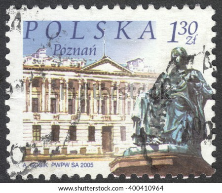 "MOSCOW, RUSSIA - CIRCA APRIL, 2016: a post stamp printed in POLAND shows a view of Poznan town, the series ""Polish cities"", circa 2002"