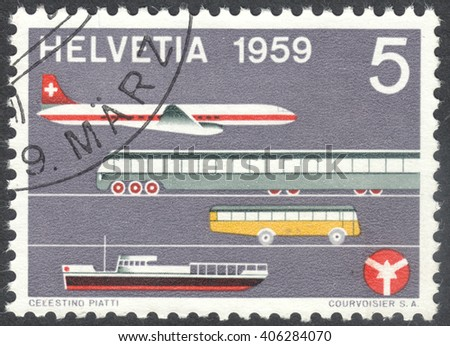 MOSCOW, RUSSIA - CIRCA APRIL, 2016: a post stamp printed in SWITZERLAND dedicated to Opening of the Swiss House of Transport and Communications, circa 1959 - stock photo