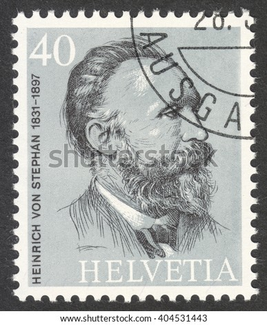 "MOSCOW, RUSSIA - CIRCA APRIL, 2016: a post stamp printed in SWITZERLAND shows a portrait of Heinrich von Stephan, the series ""The 100th Anniversary of the Universal Postal Union"", circa 1974"