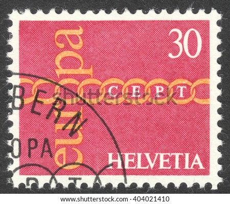 "MOSCOW, RUSSIA - CIRCA APRIL, 2016: a post stamp printed in SWITZERLAND shows chain symbolizing European Unity, the series ""Eurostamps"", circa 1971"