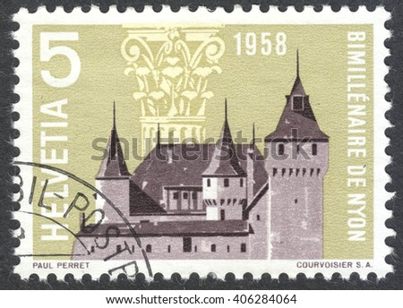 MOSCOW, RUSSIA - CIRCA APRIL, 2016: a post stamp printed in SWITZERLAND shows Nyon Castle and Corinthian Capital, dedicated to the 2000th anniversary of Nyon, circa 1958
