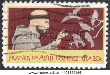 MOSCOW, RUSSIA - CIRCA APRIL, 2016: a post stamp printed in the USA shows St. Francis of Assisi, circa 1982 - stock photo