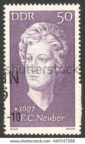 "MOSCOW, RUSSIA - CIRCA AUGUST, 2016: a stamp printed in DDR shows a portrait of  Friederike Caroline Neuber, the series ""Famous Persons"", circa 1972"