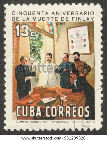 "MOSCOW, RUSSIA - CIRCA DECEMBER, 2016: a post stamp printed in CUBA shows C. Finlay, the series ""The 50th Anniversary of the Death of Carlos J. Finlay, Malaria Researcher"", circa 1965"