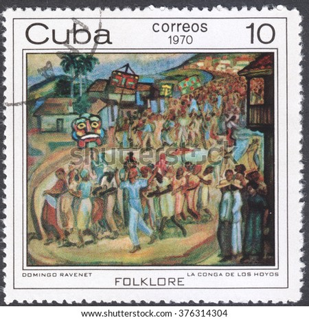 "MOSCOW, RUSSIA - CIRCA FEBRUARY, 2016: a post stamp printed in CUBA shows painting ""Conga dance in Los Hoyos"" by Domingo Ravenet, the series ""The Afro-Cuban Folklore Paintings"", circa 1970"