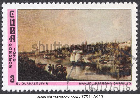 "MOSCOW, RUSSIA - CIRCA FEBRUARY, 2016: a post stamp printed in CUBA shows painting ""Guadalquivir River"" by Manuel Barron y Carrillo, the series ""National Museum Paintings"", circa 1976"
