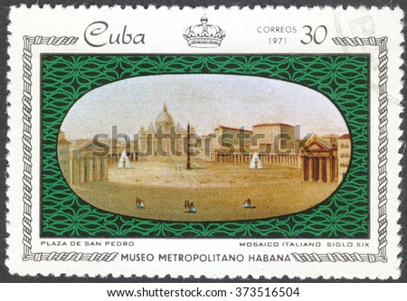 """MOSCOW, RUSSIA - CIRCA FEBRUARY, 2016: a post stamp printed in CUBA shows Plaza de San Pedro, the series """"Porcelain and Mosaics in Metropolitan Museum, Havana"""", circa 1971 - stock photo"""