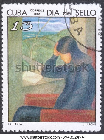 "MOSCOW, RUSSIA - CIRCA FEBRUARY, 2016: a post stamp printed in CUBA showsa painting ""The letter"" by J. Arche, the series ""The Cuban Stamp Day"", circa 1970"