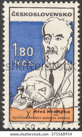 "MOSCOW, RUSSIA - CIRCA FEBRUARY, 2016: a post stamp printed in CZECHOSLOVAKIA shows a portrait of A. Hrdlicka, the series ""UNESCO - Cultural Personalities of the 20th Cent. in Caricature"", circa 1969"