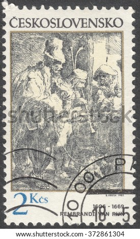"MOSCOW, RUSSIA - CIRCA FEBRUARY, 2016: a post stamp printed in CZECHOSLOVAKIA shows painting ""Wandering Musicians"" by Rembrandt, the series ""Engravings with a Music Theme"", circa 1982"