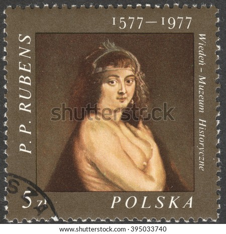 "MOSCOW, RUSSIA - CIRCA FEBRUARY, 2016: a post stamp printed in POLAND shows a painting ""Helene Fourment in a fur coat"" by Rubens, the series ""The 400th anniversary of the birth of Rubens"", circa 1977"